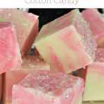 pinterest image for Christmas Fudge Recipe of white chocolate and cotton candy swirled fudge