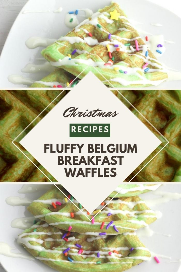 Christmas recipe pinterest image for some fluffy Belgium breakfast waffles