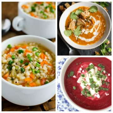 collage of 3 soups in bowls that are without meat for vegetarian and meat-free monday family dinner ideas