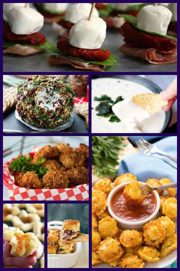 collage of new years eve appetizers for a family friendly feast