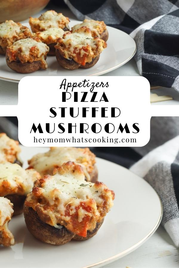 pinnable image for a delicious stuffed mushroom appetizer