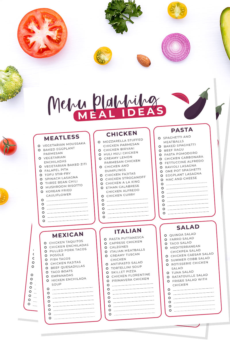 a copy of a printable meal planning cheat sheet for family meals on a white table with fruit and veg around