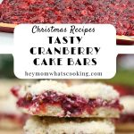 pinnable image for the Christmas Cranberry Cake Bars recipe
