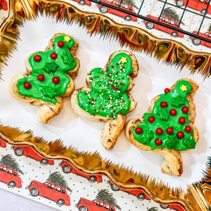 a christmas plate with 3 christmas tree cinnamon rolls with green frosting and lots of sprinkles, star and holly