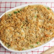 casserole dish full of Turkey Terrazini topped with cheesey breadcrumbs ready to serve