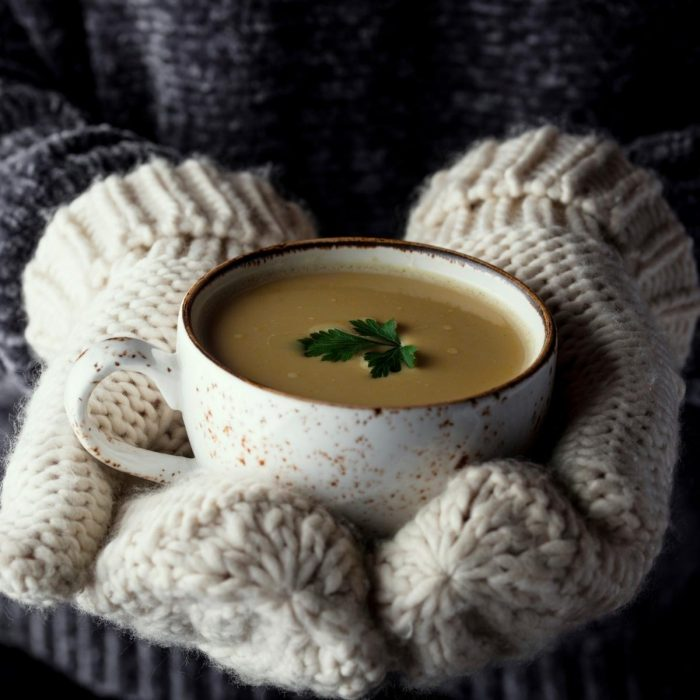 mittened hands holding a bowl of homemade warming rainy day soup