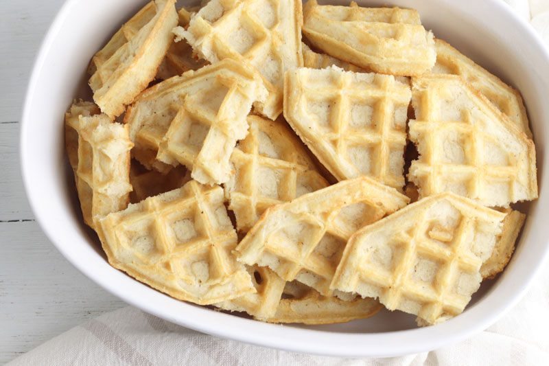 belgian waffles on the bottom of a casserole dish
