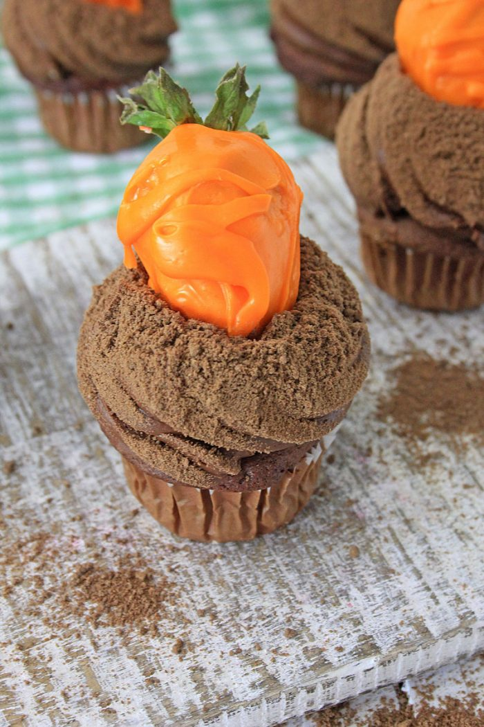 easy easter or spring carrot patch cupcakes