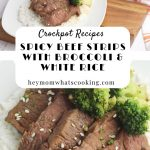crockpot spicy beef and broccoli pin image from hey mom whats cooking