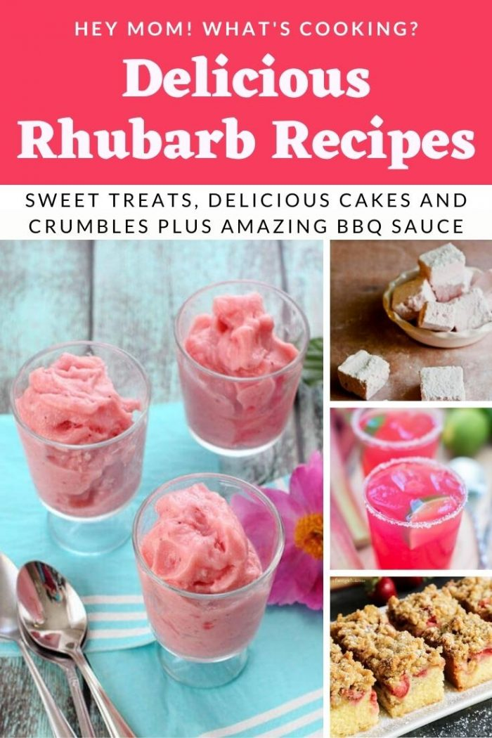 pinterest image to show a selection of the rhubarb recipes collated by Hey Mom Whats Cooking