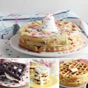 collage of fun waffle recipes for kids and families on hey mom whats cooking a large sprinkle waffle with ice cream on top at the top with 3 images below brownie waffle sandwich, cinnamon roll waffles stacked with cream cheese frosting and a delicious blueberry belgian waffle with butter melting on the top