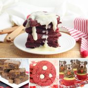 collage of 4 kid favourite valentines day recipes at the top a delicious red velvet waffle for breakfast below rolo brownies, red velvet cookies with white chocolate chips and ever so cute valentine bear cupcakes