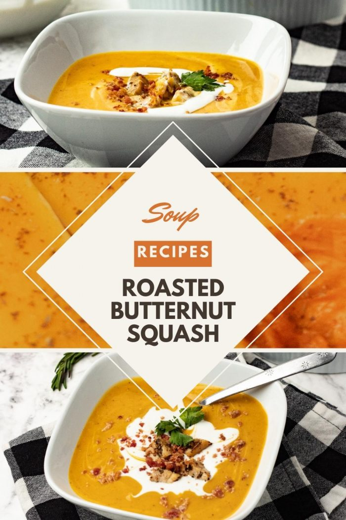 pinterest image for a Roasted butternut squash soup recipe