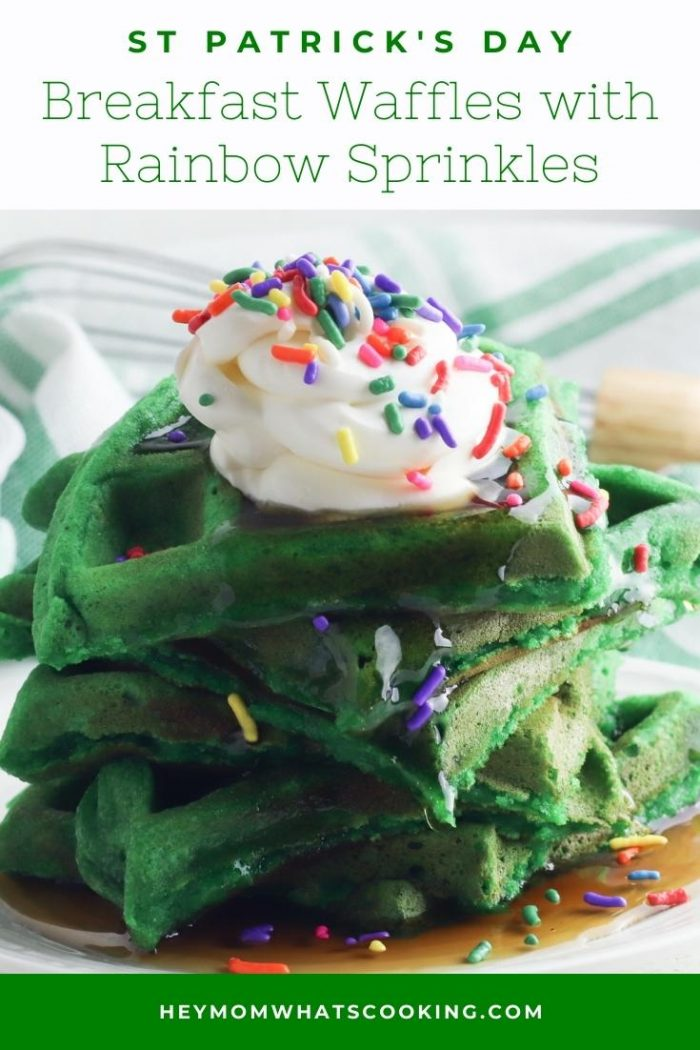 pinterest image for St Patrick's Day Waffles with Rainbow Sprinkles
