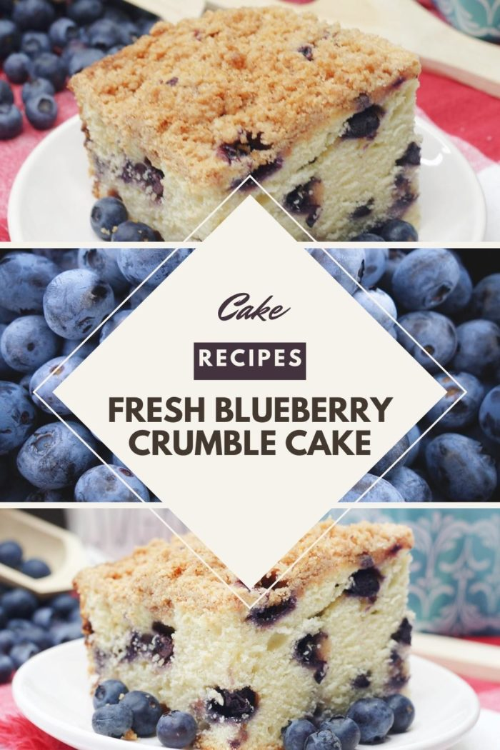 Fresh Blueberry Crumble Cake Pinnable image from Hey Mom Whats cooking for a delicious recipe you can make from scratch