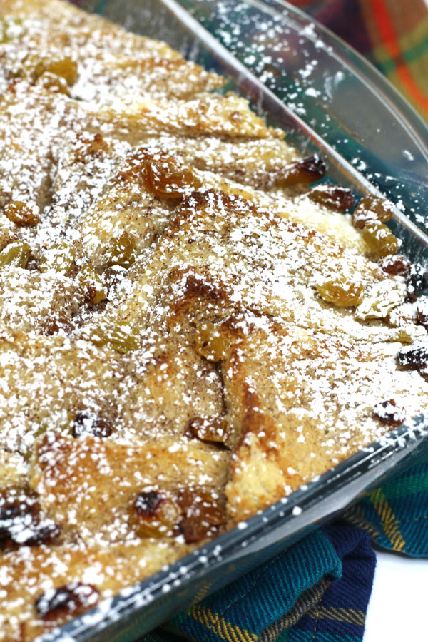 close up of a classic indulgent bread and butter pudding that is a great family dessert