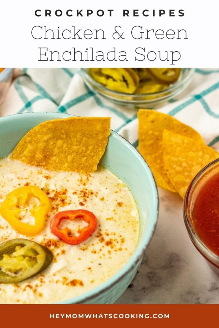 Pinnable image for Crockpot chicken and green enchilada soup