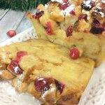 Pinterest imgae for eggnog bread and butter pudding