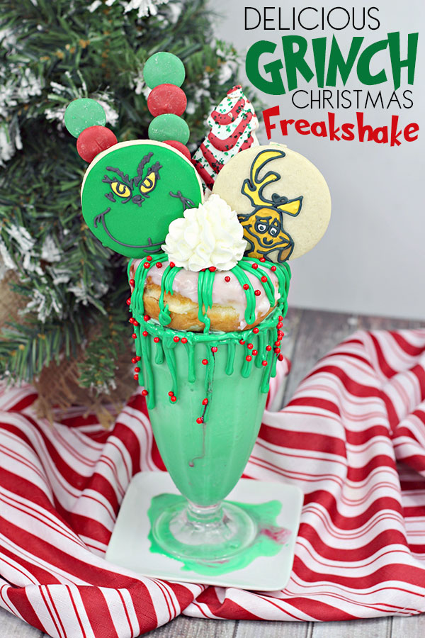 pinterest image for a glorious green grinch freakshake for movie dessert time