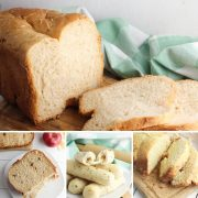 collage of easy recipes to bake with your bread maker top is a basic white loaf, below apple and cinnamon raisin bread, cheese stuffed garlic bread sticks and last garlic cheese bread with no yeast
