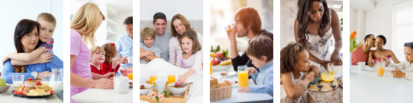 collage of different families having breakfast together