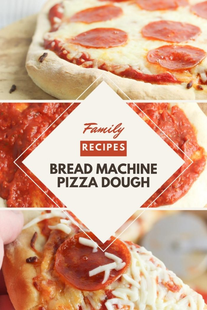 pinterest image for family recipe of bread machine pizza dough from Hey Mom whats cooking