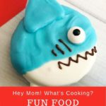 Fun food shark cookie pops pinnable image from Hey mom whats cooking