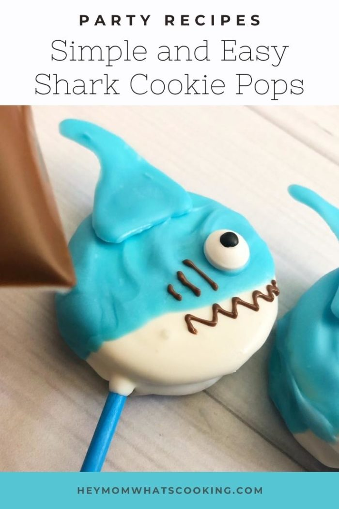 Pinterest image for a Simple and Easy Shark Cookie Pop Party Recipe from Hey Mom Whats Cooking