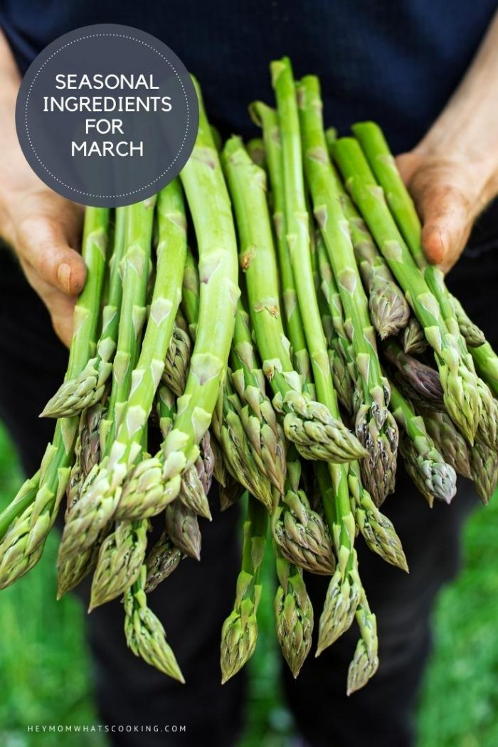 seasonal ingredients for march pinnable image from Hey Mom Whats cooking