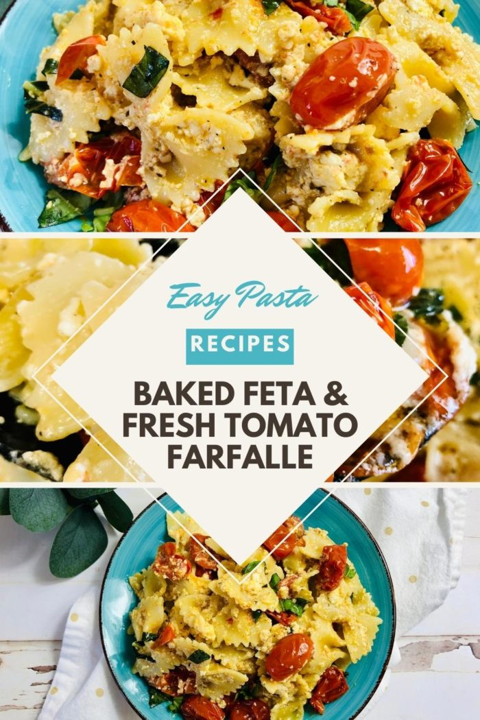 pinterest image for easy pasta recipe of baked feta and fresh tomato farfalle pasta from hey mom whats cooking