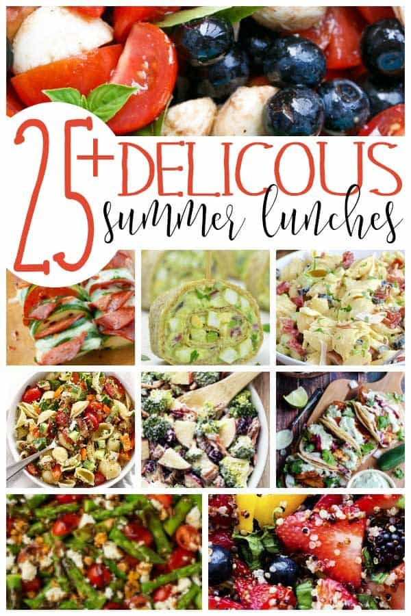 Pinterest image for 25+ delicious summer lunches from Hey Mom What's Cooking