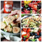 collage of 4 of the delicious summer lunches featured in the post, a pin wheel wrap, bluebeery salad, crab salad and summer fruit quinoa salad