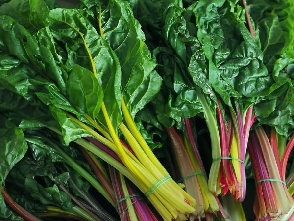 bundles of colourful swiss chard and rainbow chard ready to cook with in June