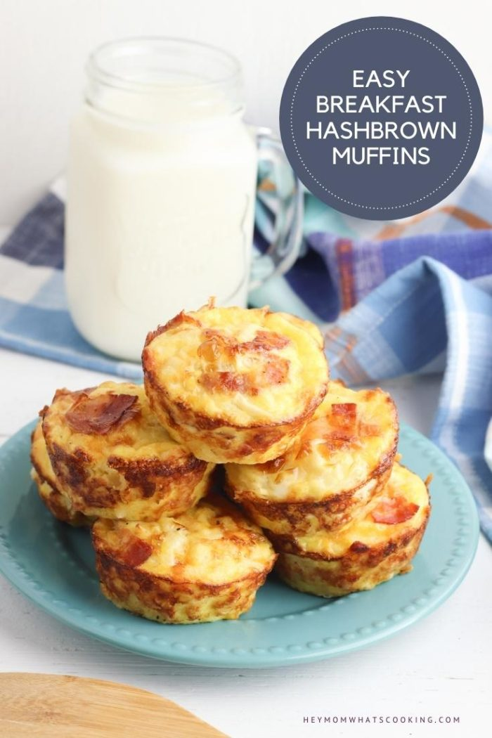 pinterest image for easy school morning breakfast savoury muffins with hashbrown and bacon, a stack of them are shown on a plate on the top of the muffins you can see the crispy bacon, behind them a large milk bottle