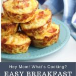 Image created for pinning on Pinterest for an Easy Breakfast Idea for Kids Hashbrown Muffins, the image shows a plate of muffins with bacon on the top crisped from baking behind you can see a tea towel and a jug of milk