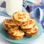 a plate of easy breakfast hashbrown muffins ready for the kids to grab on their way to school and the bus