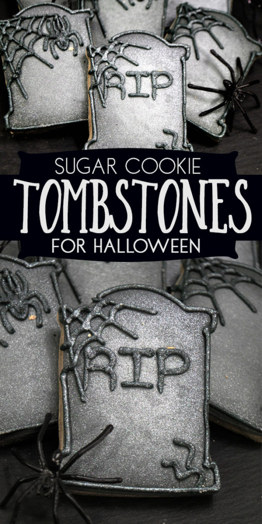 Easy to decorate step-by-step guide to make these fantastic Tombstone Sugar Cookies for Halloween. Includes a no spread sugar cookie recipe.