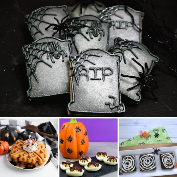 collage of 4 of the easy halloween recipes featured on Hey Mom! What's Cooking? Tombstone cookies, halloween pumpkin waffles, deviled eggs and spooky spider web brownies
