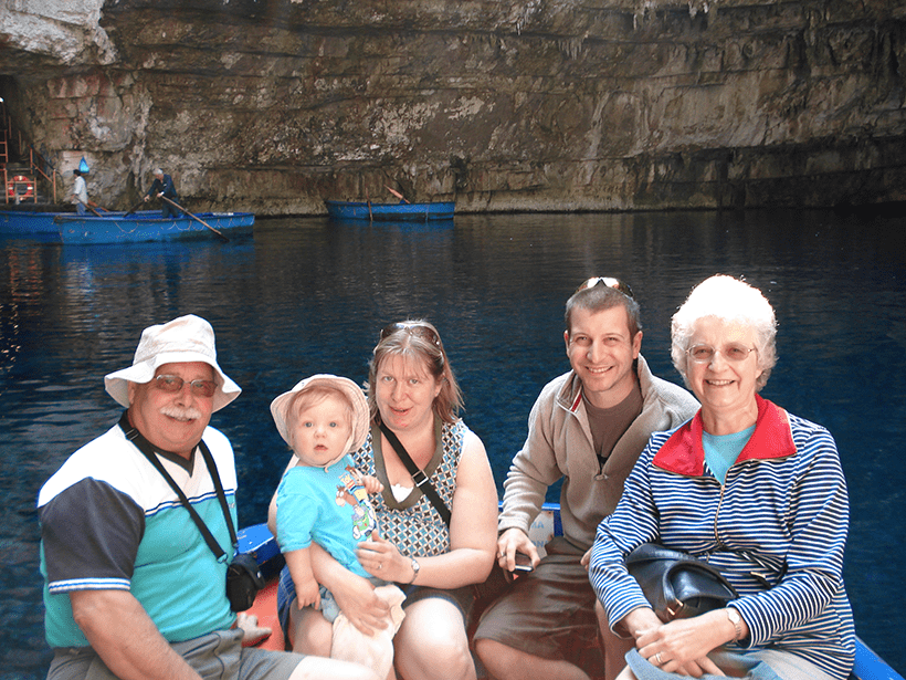 family on the boat on Melissani Lake in Kefalonia during October