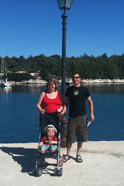 fiskado harbour with family and toddler