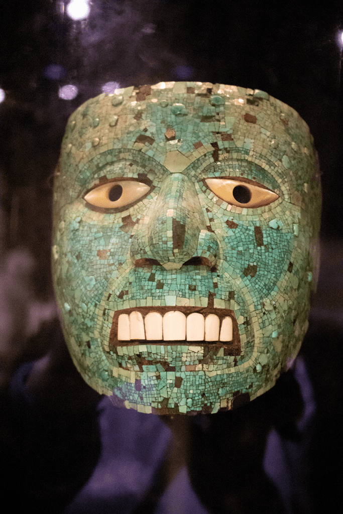 skull enrusted by jade and turquoise in the British Museum London