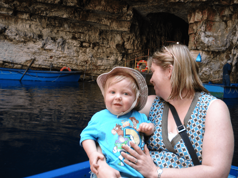traveling on the boat on melissani lake with toddler