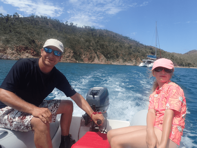travelled so far dad and daughter on the dinghy in the BVIs