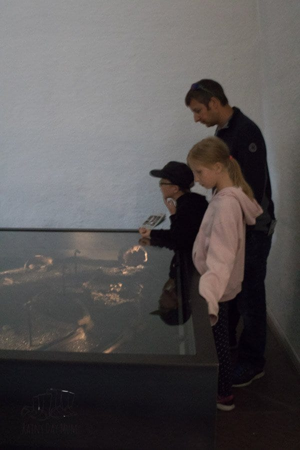 family looking at the skeletons within the Viking ship museum in Oslo