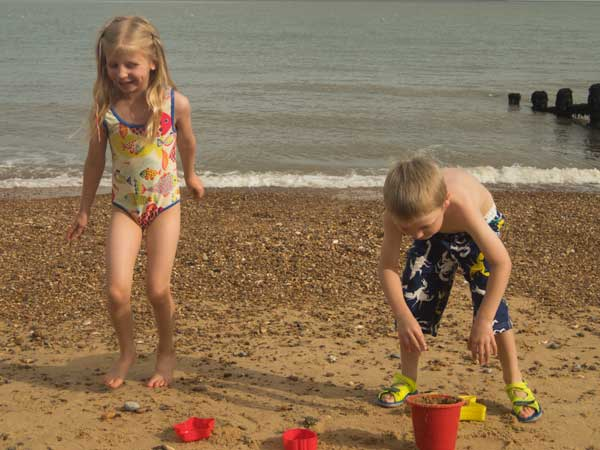 kids playing on Felixstowe beach