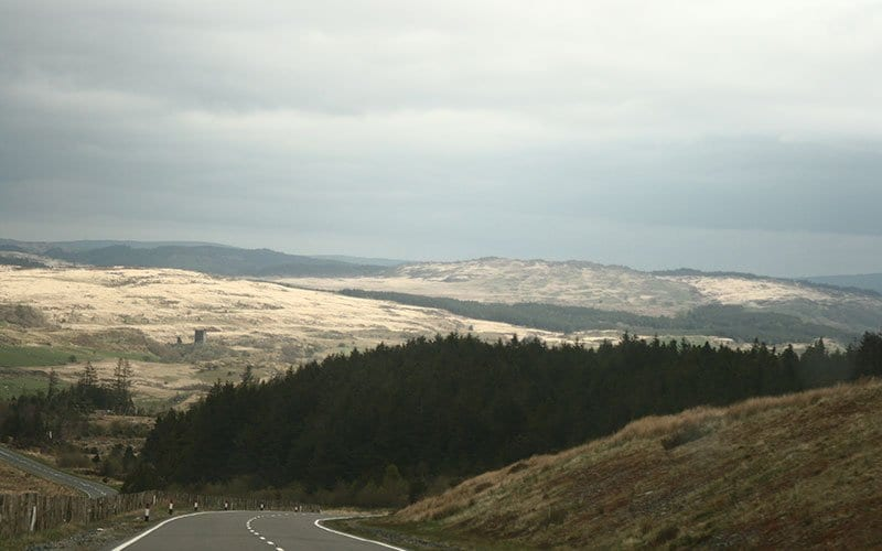 view of the mountains in North Wales on the road to Llechwedd Slate Mines
