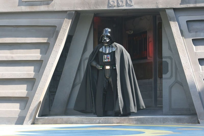 Darth Vadar at the Temple emerging for Jedi Training in Walt Disney World Hollywood Studios