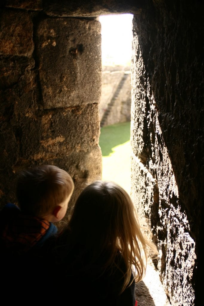 what a view from inside the walls of beaumaris castle a great way for young kids to explore and learn in North Wales