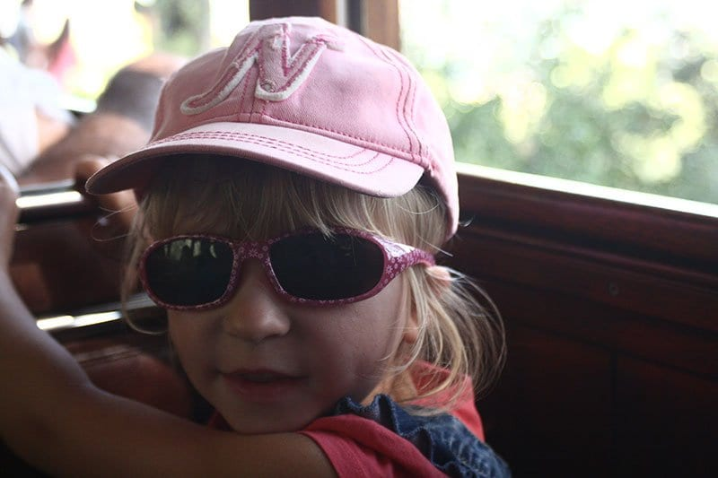 preschooler on the palma to soller train