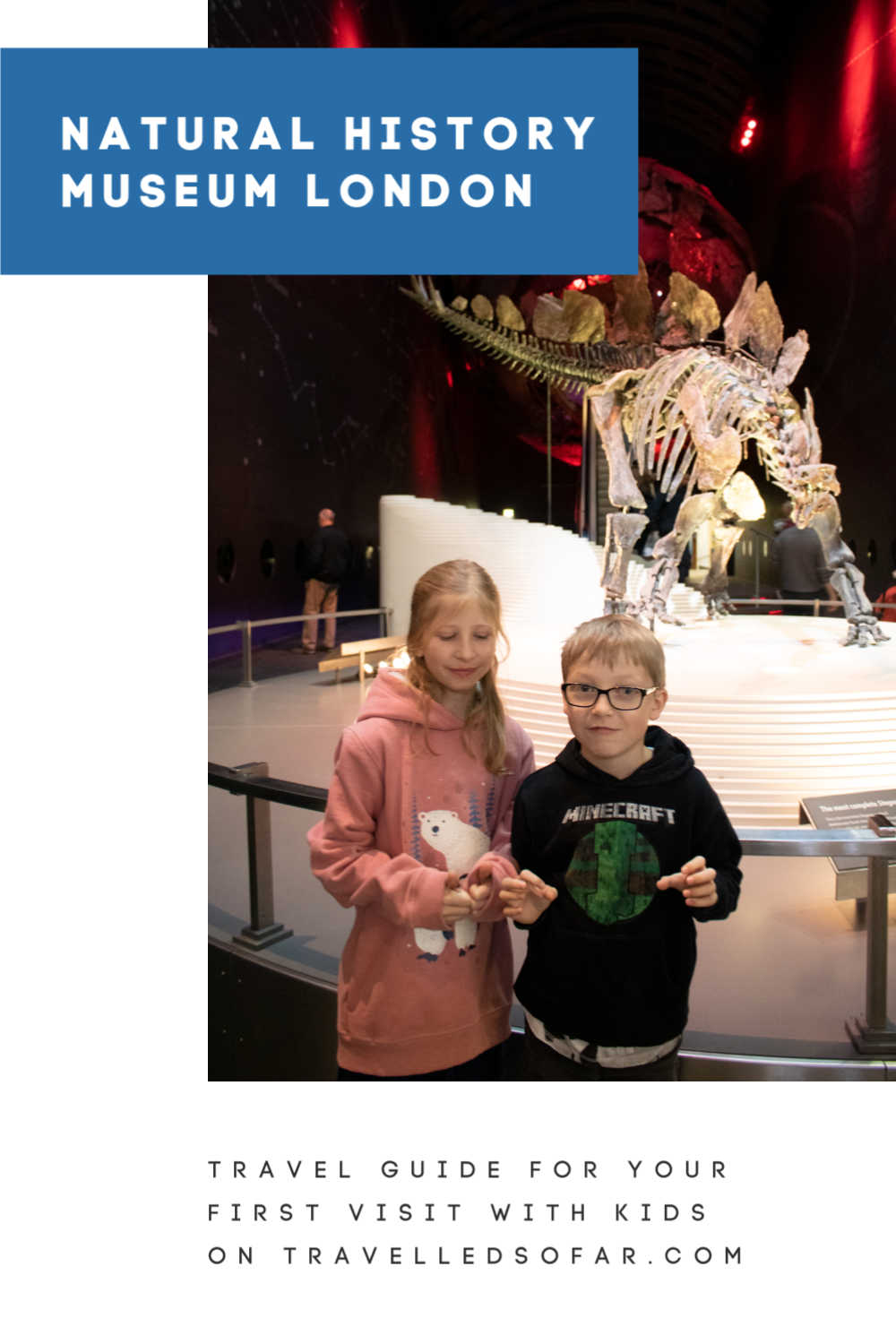 pinnable image for A travel guide for your first visit with kids to the Natural History Museum London